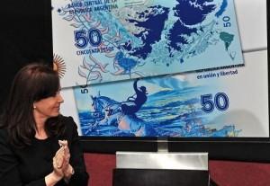 nuevo billete de $ 50 con el mapa de Malvinas