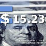27-07-2016 dolar sin cambios $ 15,23