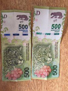 Billete falso y verdadero de $ 500