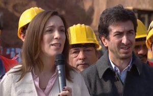 Gobernadora María Eugenia Vidal en acto en la obra del Derivador 31, de la ciudad de La Plata.