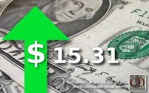sube el dólar a $ 15,31