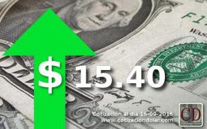 16-09-2016 sube el dolar $15,40