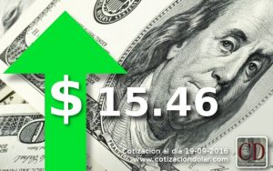 19/09/2016 sube el dolar $ 15,46