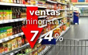 ventas minoristas caen 7,4% en agosto