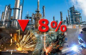 industria cayó 8% en septiembre