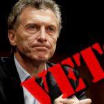Mauricio Macri, veto precidencial