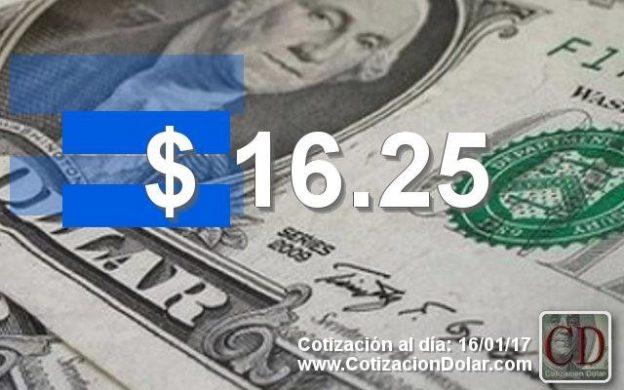 cotización del 16/01/2016 a $16,25