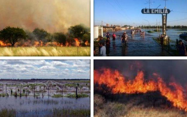 inundaciones e incendios en la provincia de Buenos Aires