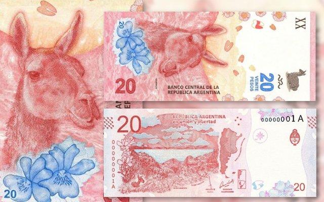 nuevo billete de 20 pesos con la imagen de un guanaco