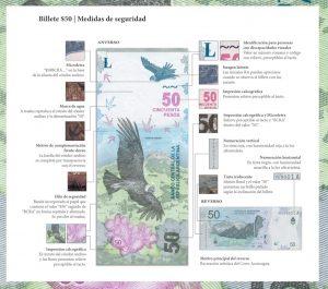 Medidas de seguridad billete $ 50 Cóndor Andino