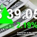 25-09-2018 sube dólar hoy a $ 39,05