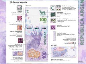 medidas de seguridad del billete de 100 pesos