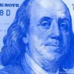 Detalle billete de dólar blue